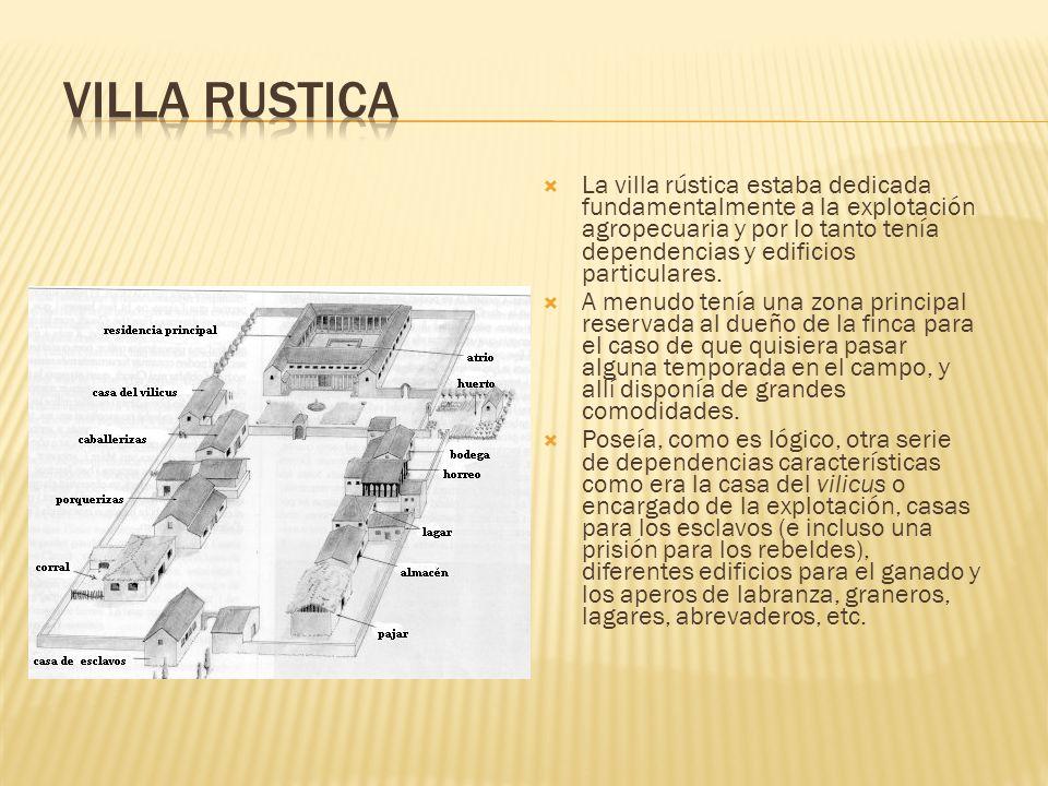 La villa rústica estaba dedicada fundamentalmente a la explotación agropecuaria y por lo tanto tenía dependencias y edificios particulares. A menudo t