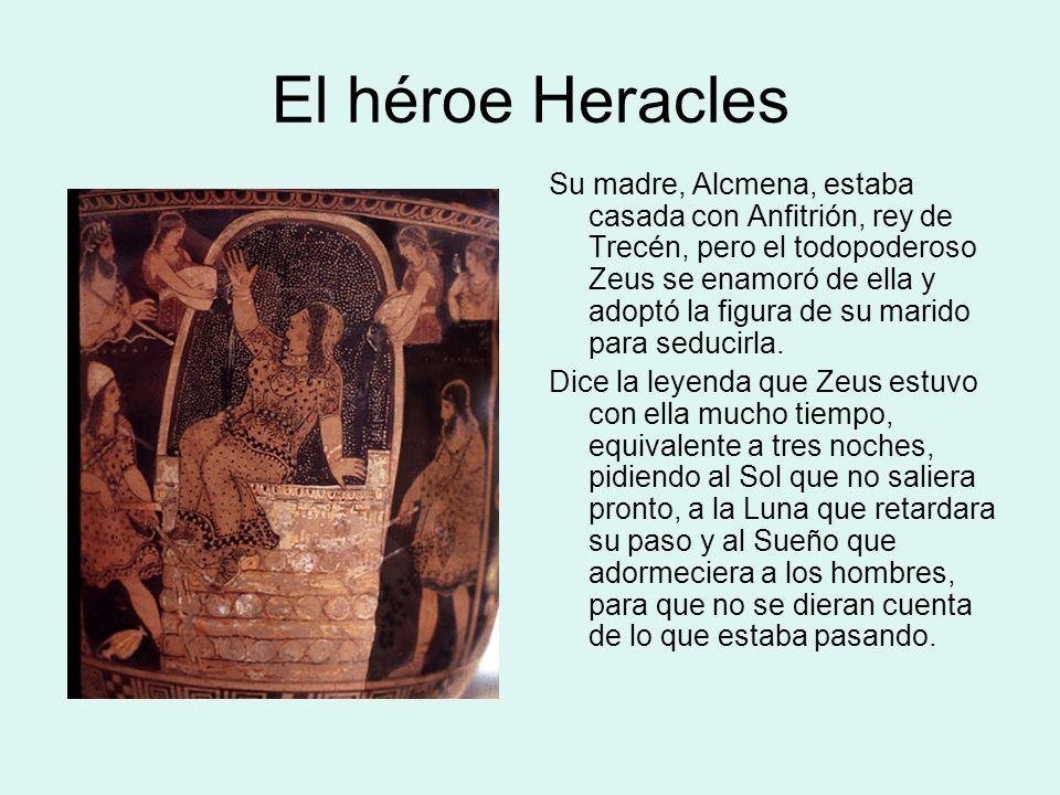Nacimiento de Heracles Alcmena concibió en su momento a dos gemelos: uno, Heracles, de su unión con Zeus, y el otro, Ificles, de su esposo Anfitrión.