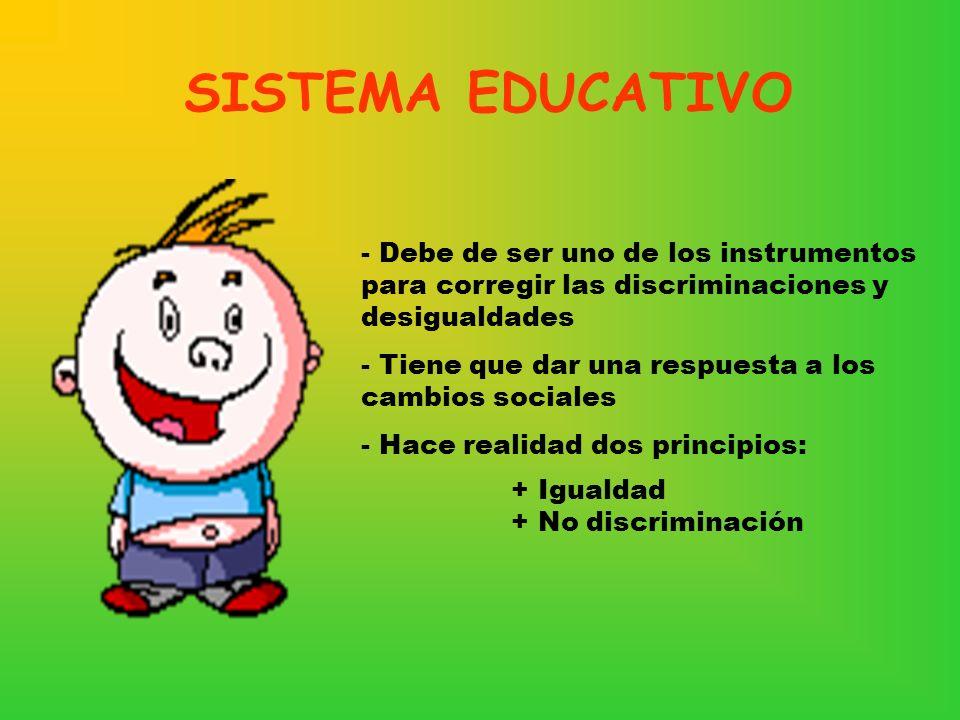 SISTEMA EDUCATIVO - Debe de ser uno de los instrumentos para corregir las discriminaciones y desigualdades - Tiene que dar una respuesta a los cambios