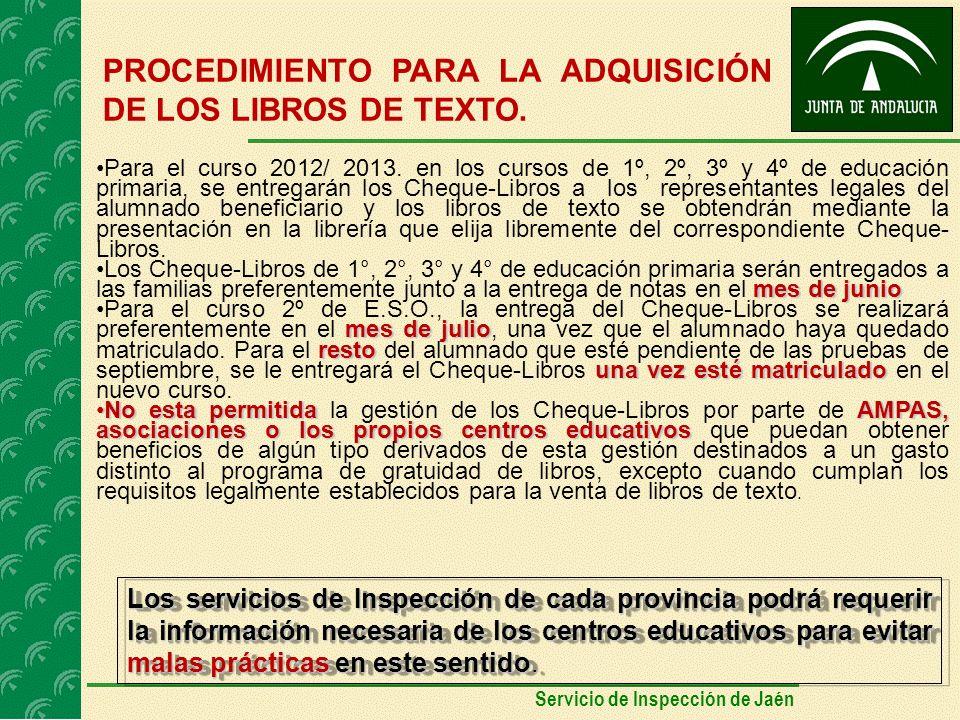 PROCEDIMIENTO PARA LA ADQUISICIÓN DE LOS LIBROS DE TEXTO.