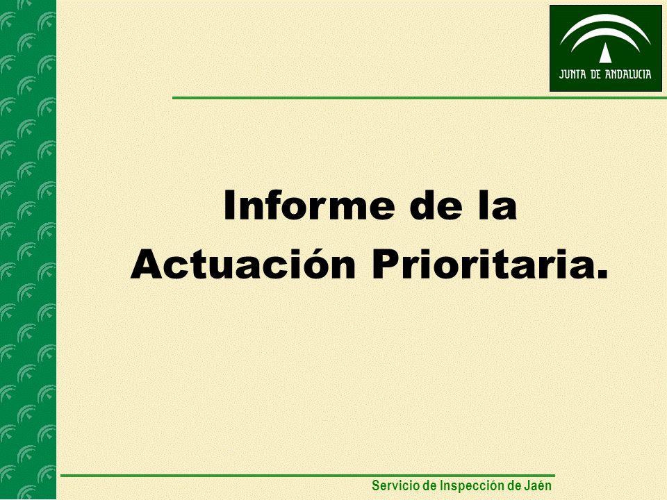 Informe de la Actuación Prioritaria. Servicio de Inspección de Jaén