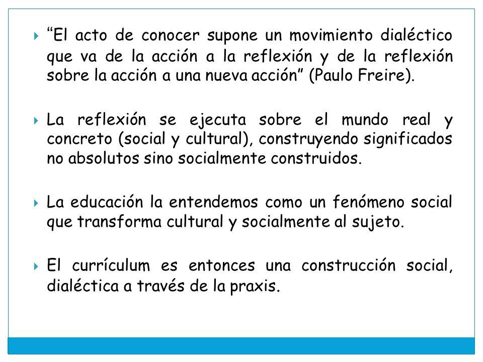 El acto de conocer supone un movimiento dialéctico que va de la acción a la reflexión y de la reflexión sobre la acción a una nueva acción (Paulo Freire).