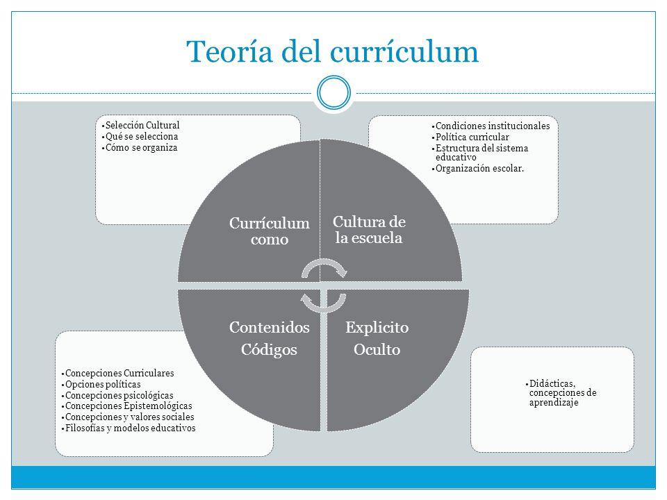 Teoría del currículum Didácticas, concepciones de aprendizaje Concepciones Curriculares Opciones políticas Concepciones psicológicas Concepciones Epistemológicas Concepciones y valores sociales Filosofías y modelos educativos Condiciones institucionales Política curricular Estructura del sistema educativo Organización escolar.
