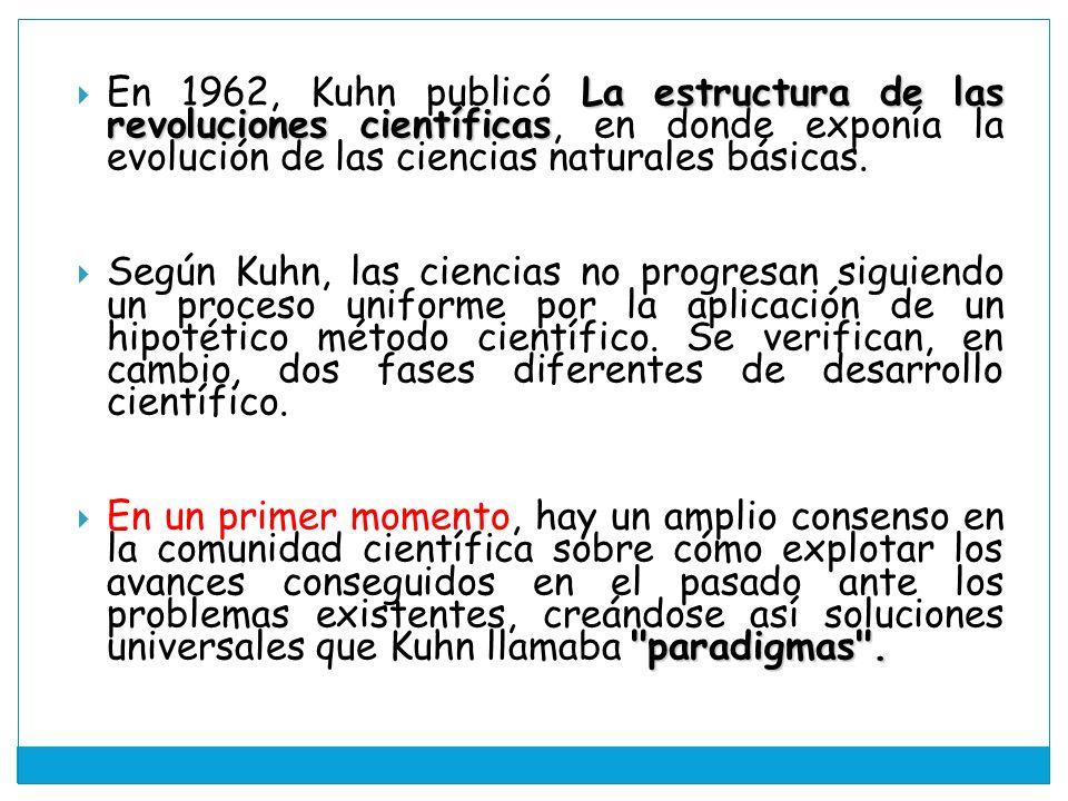 La estructura de las revoluciones científicas En 1962, Kuhn publicó La estructura de las revoluciones científicas, en donde exponía la evolución de las ciencias naturales básicas.