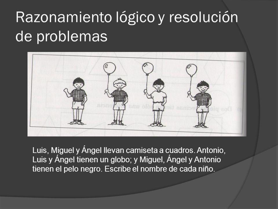Razonamiento lógico y resolución de problemas Luis, Miguel y Ángel llevan camiseta a cuadros. Antonio, Luis y Ángel tienen un globo; y Miguel, Ángel y