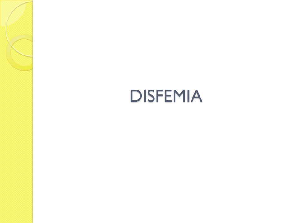 Disfemia Trastorno de la fluidez verbal, caracterizado por repeticiones de sonidos, sílabas, palabras y frases.