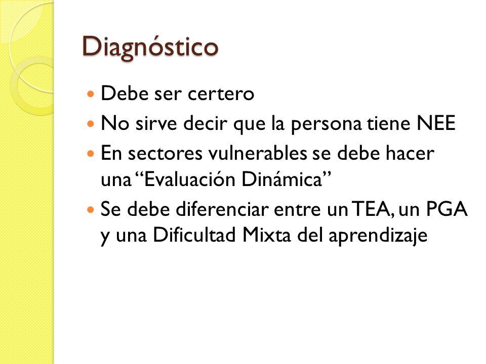 Diagnóstico Debe ser certero No sirve decir que la persona tiene NEE En sectores vulnerables se debe hacer una Evaluación Dinámica Se debe diferenciar