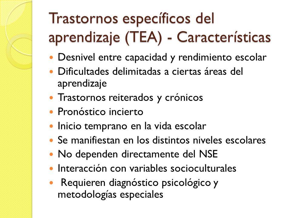 Trastornos específicos del aprendizaje (TEA) - Características Desnivel entre capacidad y rendimiento escolar Dificultades delimitadas a ciertas áreas