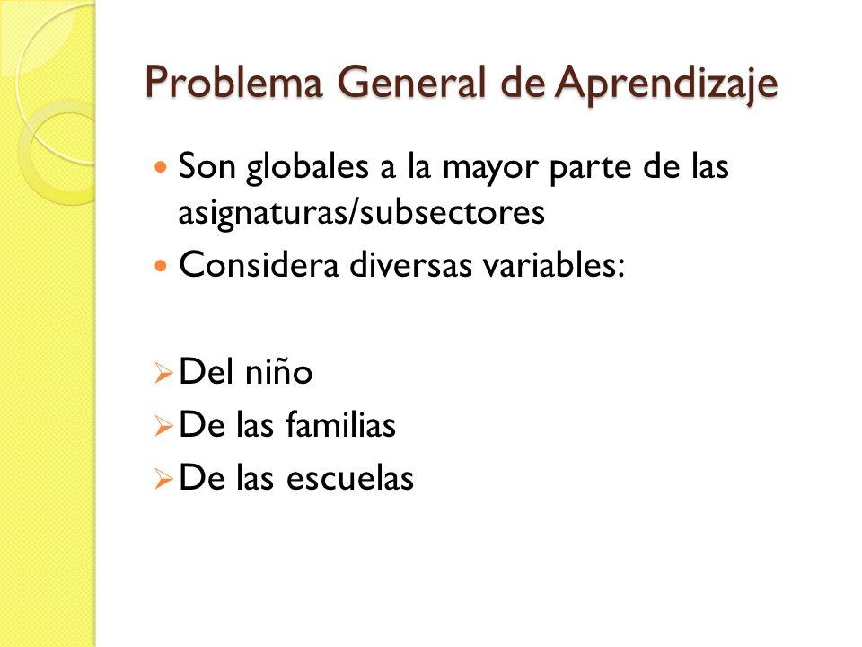 Problema General de Aprendizaje Son globales a la mayor parte de las asignaturas/subsectores Considera diversas variables: Del niño De las familias De