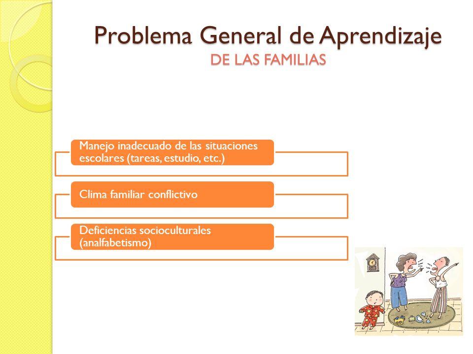 Problema General de Aprendizaje DE LAS FAMILIAS Manejo inadecuado de las situaciones escolares (tareas, estudio, etc.) Clima familiar conflictivo Defi