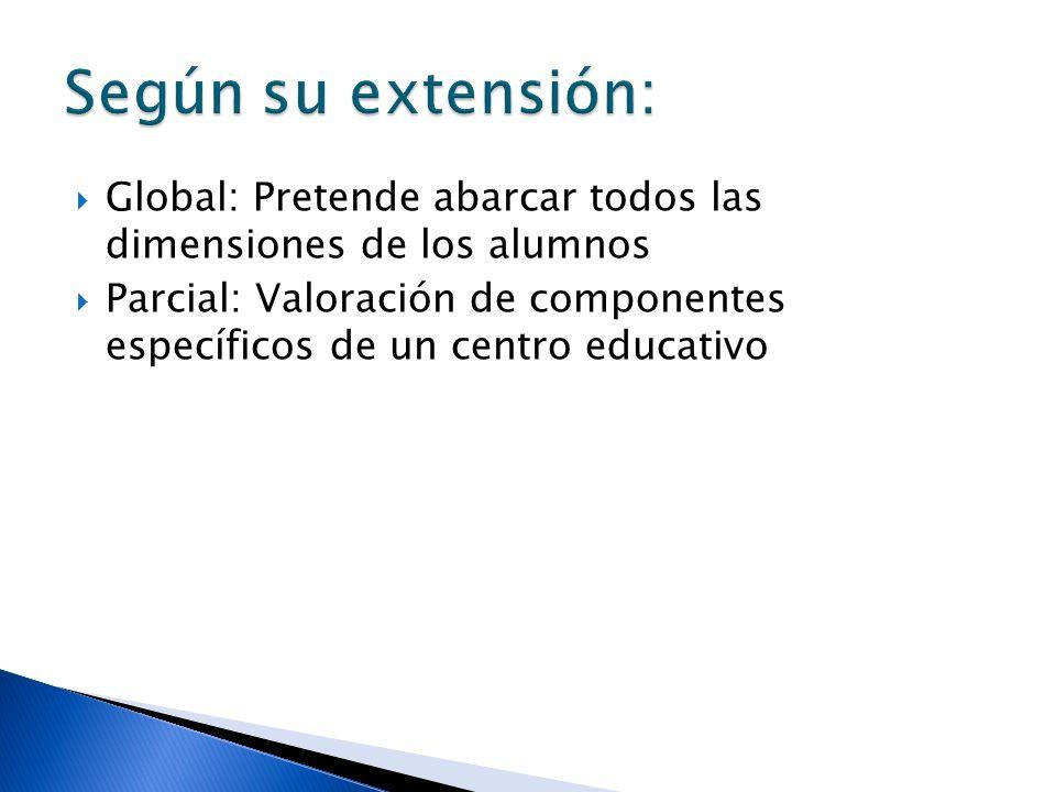 Global: Pretende abarcar todos las dimensiones de los alumnos Parcial: Valoración de componentes específicos de un centro educativo