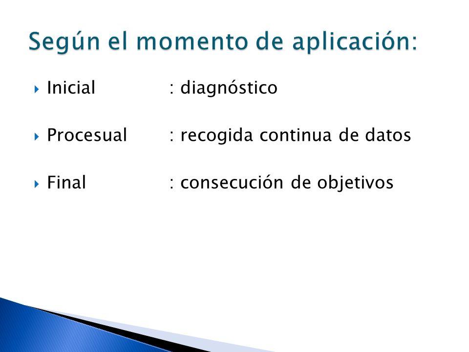 Inicial: diagnóstico Procesual: recogida continua de datos Final: consecución de objetivos