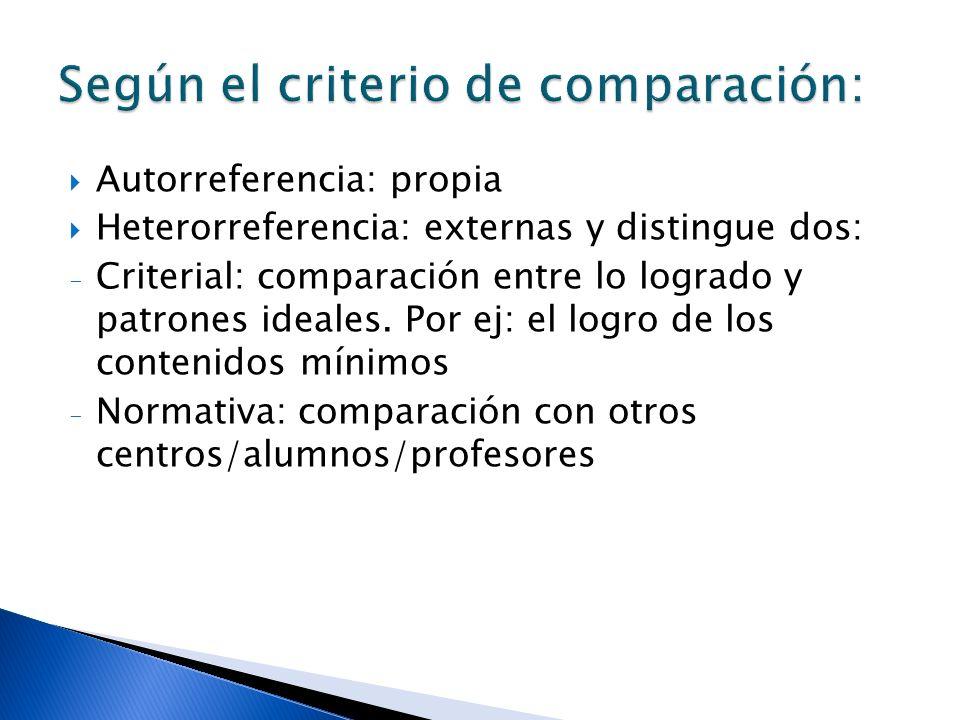 Autorreferencia: propia Heterorreferencia: externas y distingue dos: - Criterial: comparación entre lo logrado y patrones ideales. Por ej: el logro de