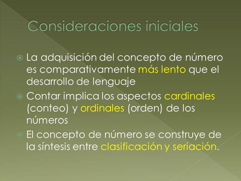 La adquisición del concepto de número es comparativamente más lento que el desarrollo de lenguaje Contar implica los aspectos cardinales (conteo) y or