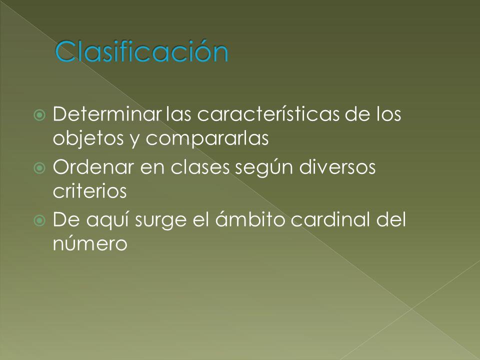 Determinar las características de los objetos y compararlas Ordenar en clases según diversos criterios De aquí surge el ámbito cardinal del número