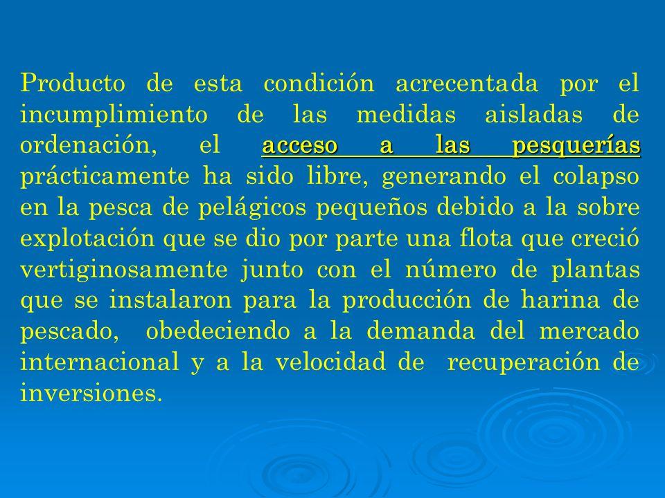 acceso a las pesquerías Producto de esta condición acrecentada por el incumplimiento de las medidas aisladas de ordenación, el acceso a las pesquerías