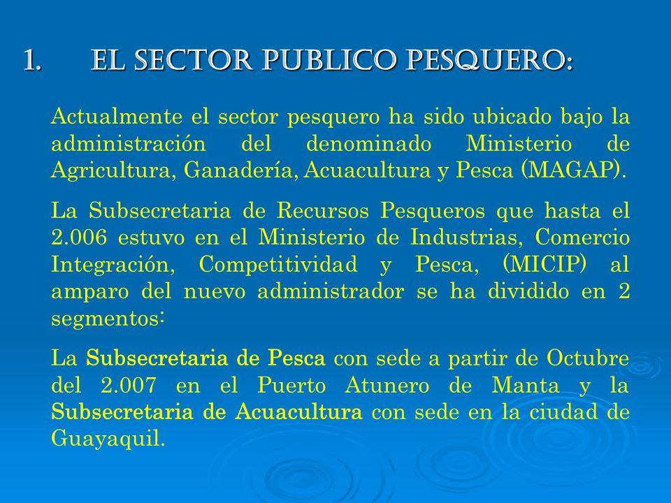 1.EL SECTOR PUBLICO PESQUERO: Actualmente el sector pesquero ha sido ubicado bajo la administración del denominado Ministerio de Agricultura, Ganaderí