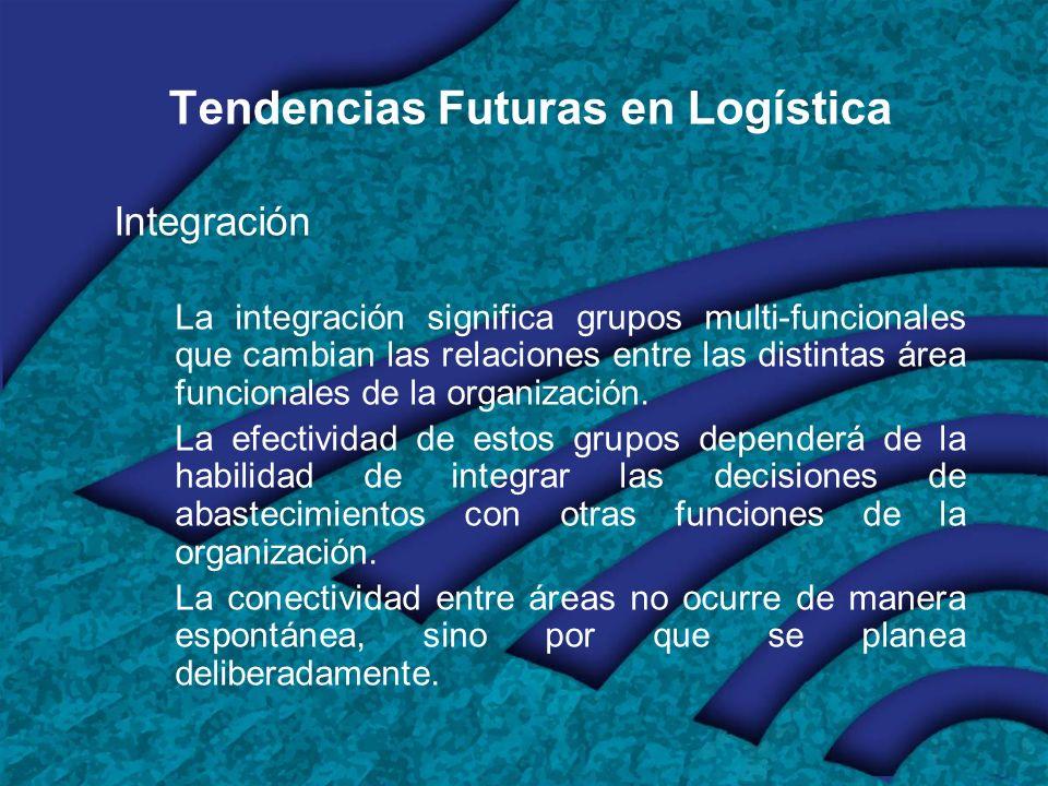 Tendencias Futuras en Logística Integración La integración significa grupos multi-funcionales que cambian las relaciones entre las distintas área funcionales de la organización.