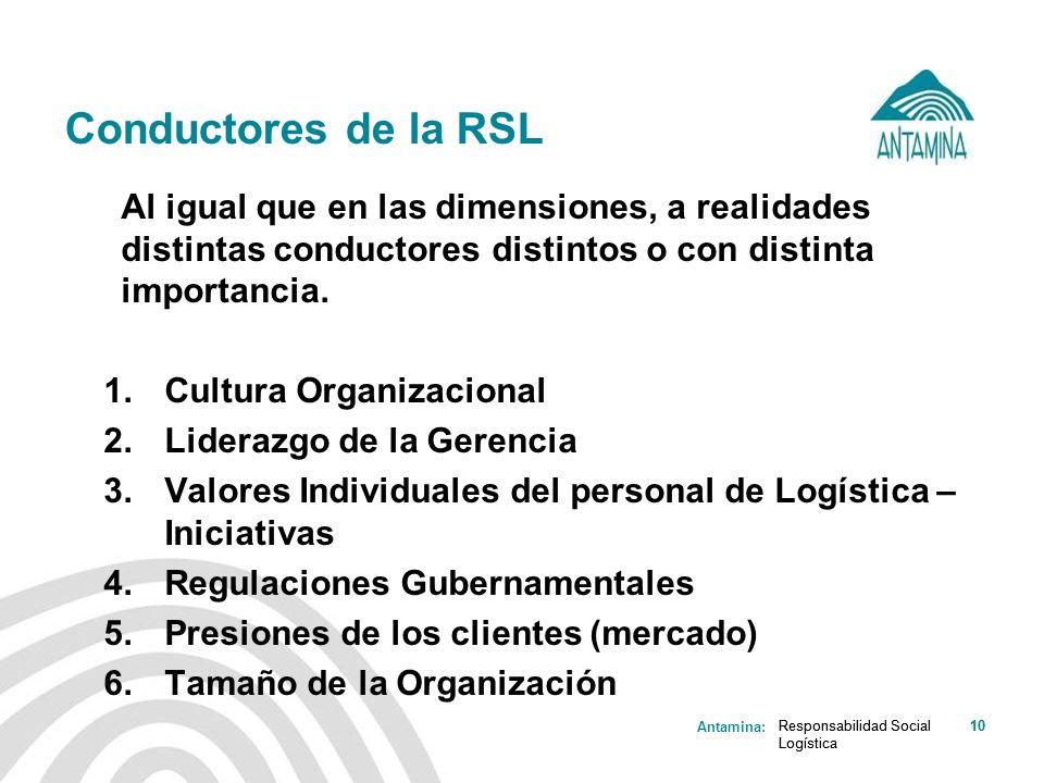 Antamina: Responsabilidad Social Logística 10Responsabilidad Social Logística 10 Conductores de la RSL Al igual que en las dimensiones, a realidades d