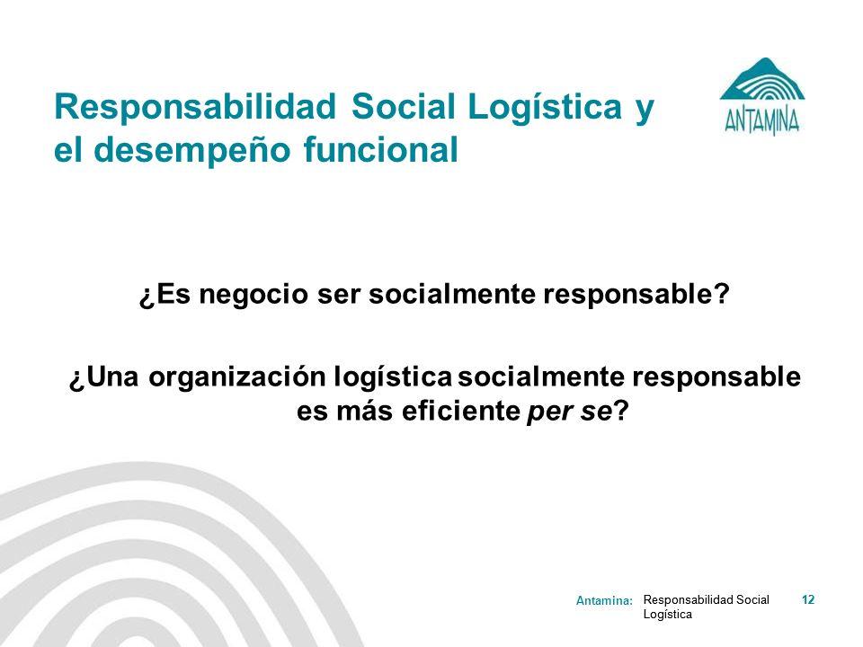 Antamina: Responsabilidad Social Logística 12Responsabilidad Social Logística 12 Responsabilidad Social Logística y el desempeño funcional ¿Es negocio