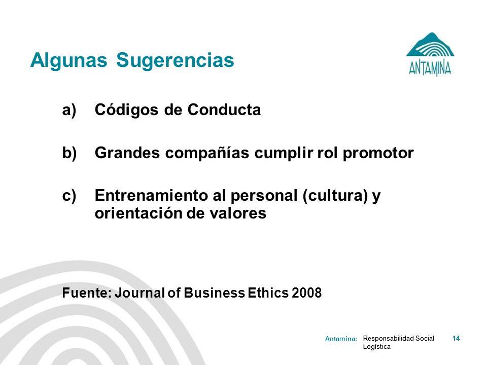 Antamina: Responsabilidad Social Logística 14Responsabilidad Social Logística 14 Algunas Sugerencias a)Códigos de Conducta b)Grandes compañías cumplir