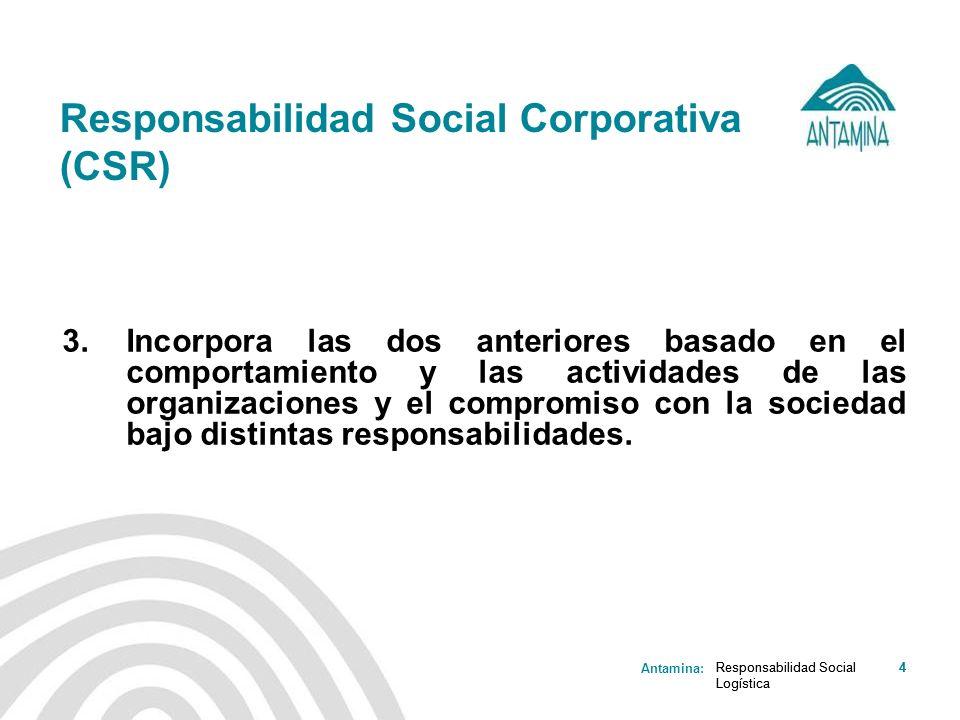 Antamina: Responsabilidad Social Logística 4 Responsabilidad Social Corporativa (CSR) 3. Incorpora las dos anteriores basado en el comportamiento y la