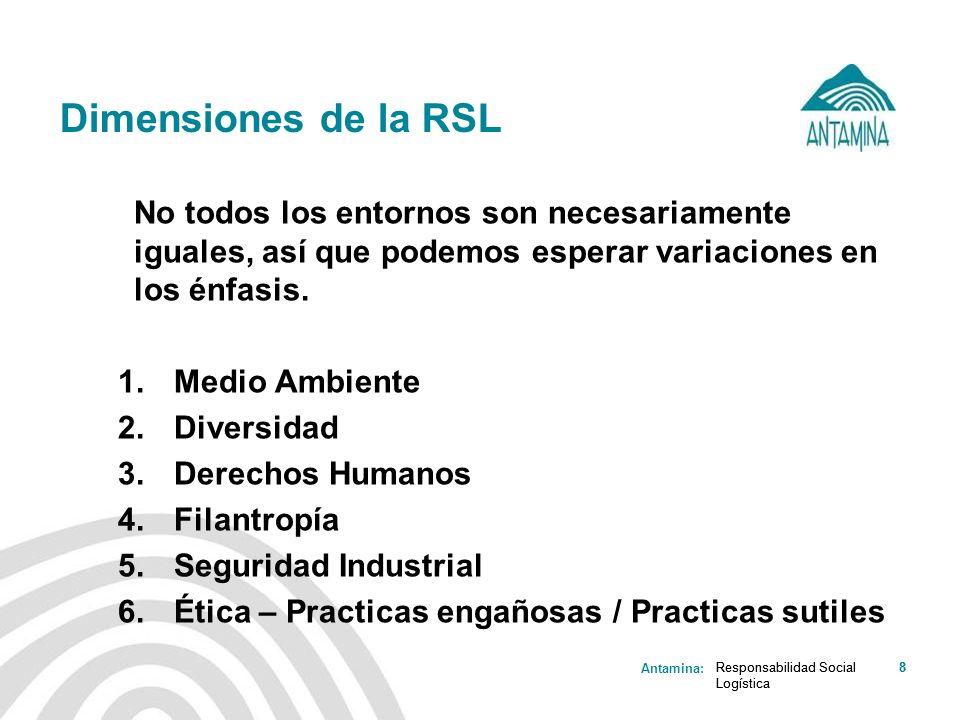 Antamina: Responsabilidad Social Logística 8 Dimensiones de la RSL Responsabilidad Social Logística 8 No todos los entornos son necesariamente iguales