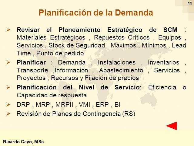 Ing. Ricardo Cayo - rcayo@expo.intercade.org - Consultor Intercade 11 Planificación de la Demanda Revisar el Planeamiento Estratégico de SCM : Materia