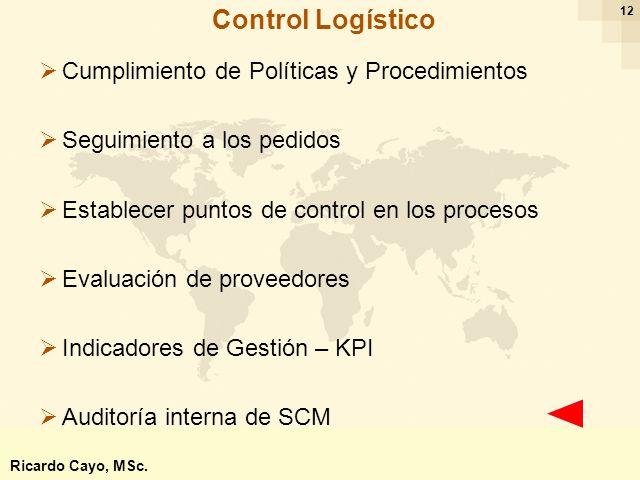 Ing. Ricardo Cayo - rcayo@expo.intercade.org - Consultor Intercade 12 Cumplimiento de Políticas y Procedimientos Seguimiento a los pedidos Establecer