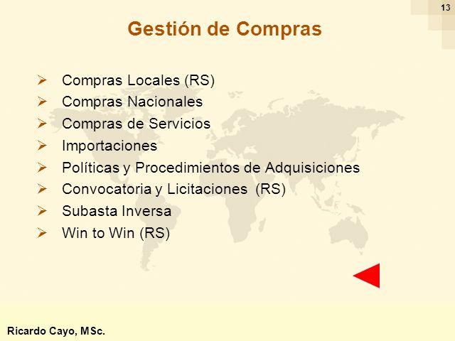 Ing. Ricardo Cayo - rcayo@expo.intercade.org - Consultor Intercade 13 Gestión de Compras Compras Locales (RS) Compras Nacionales Compras de Servicios
