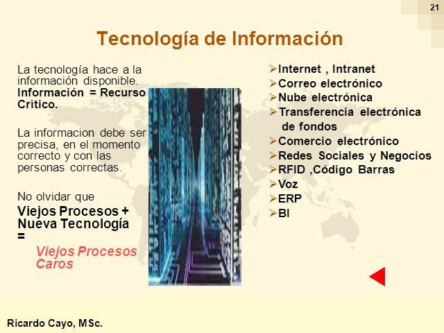 Ing. Ricardo Cayo - rcayo@expo.intercade.org - Consultor Intercade 21 Tecnología de Información La tecnología hace a la información disponible. Inform