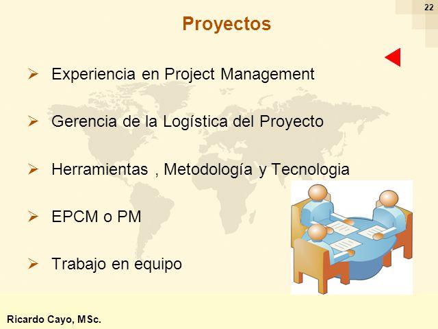 Ing. Ricardo Cayo - rcayo@expo.intercade.org - Consultor Intercade 22 Experiencia en Project Management Gerencia de la Logística del Proyecto Herramie