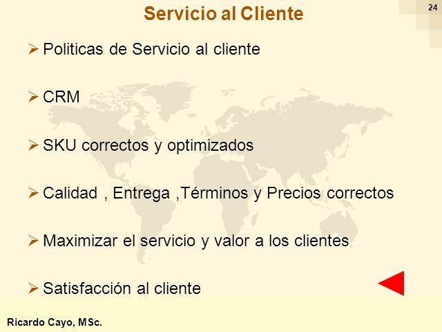 Ing. Ricardo Cayo - rcayo@expo.intercade.org - Consultor Intercade 24 Politicas de Servicio al cliente CRM SKU correctos y optimizados Calidad, Entreg