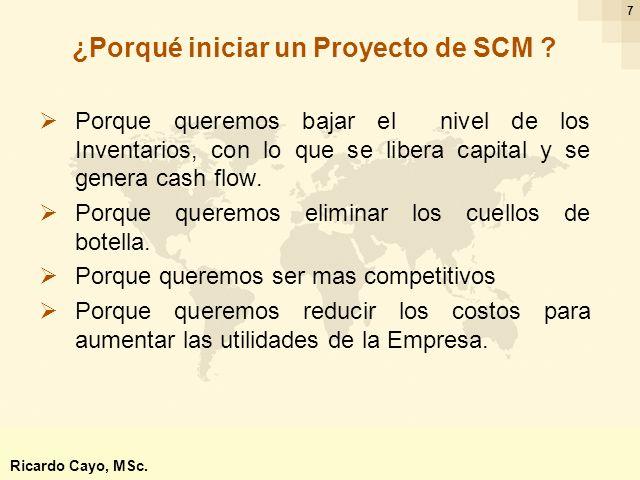 Ing. Ricardo Cayo - rcayo@expo.intercade.org - Consultor Intercade 7 Porque queremos bajar el nivel de los Inventarios, con lo que se libera capital y