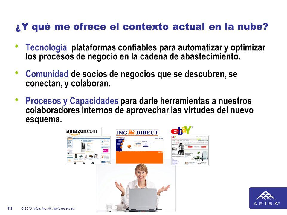© 2010 Ariba, Inc. All rights reserved. 11 ¿Y qué me ofrece el contexto actual en la nube? Tecnología plataformas confiables para automatizar y optimi