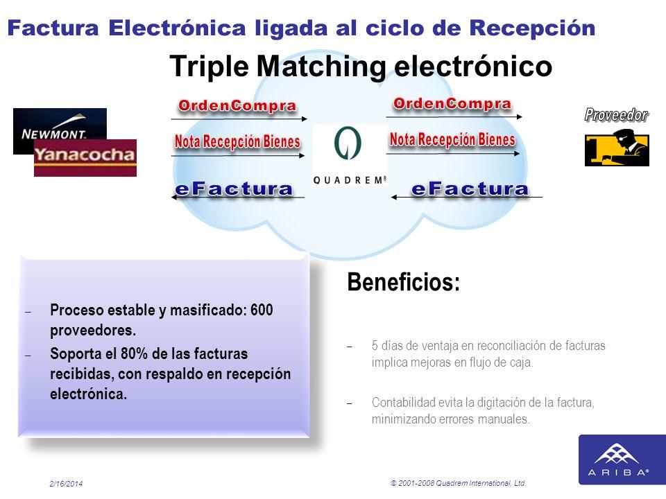Factura Electrónica ligada al ciclo de Recepción – Proceso estable y masificado: 600 proveedores. – Soporta el 80% de las facturas recibidas, con resp