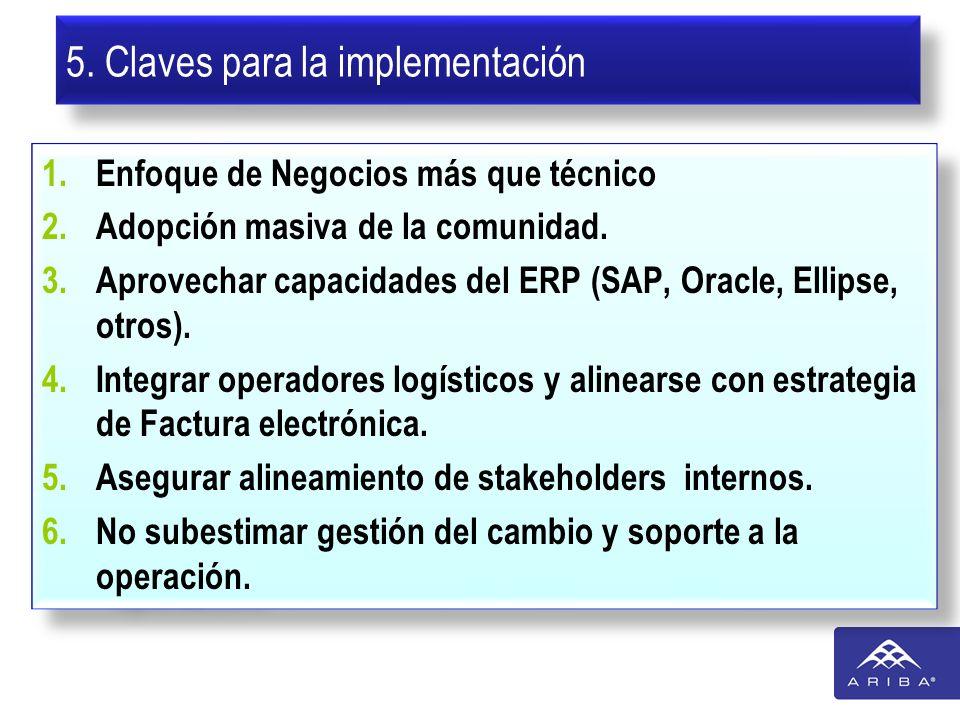 5. Claves para la implementación 1.Enfoque de Negocios más que técnico 2.Adopción masiva de la comunidad. 3.Aprovechar capacidades del ERP (SAP, Oracl
