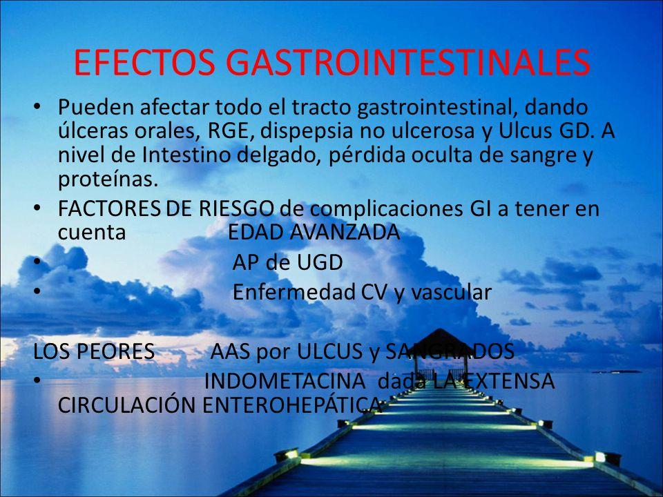 EFECTOS GASTROINTESTINALES Pueden afectar todo el tracto gastrointestinal, dando úlceras orales, RGE, dispepsia no ulcerosa y Ulcus GD. A nivel de Int