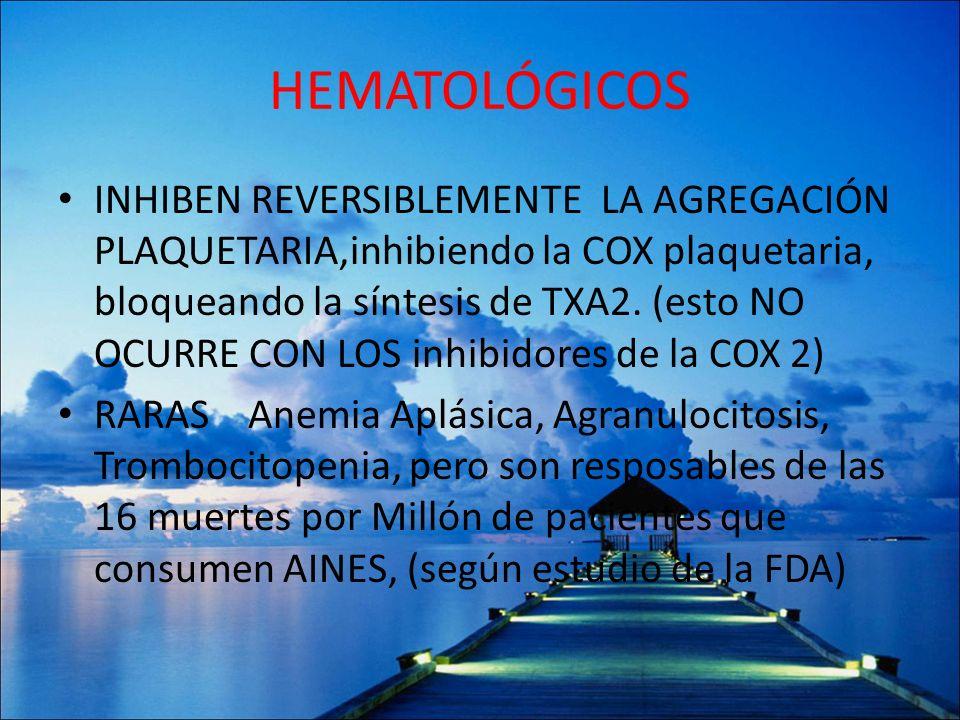 HEMATOLÓGICOS INHIBEN REVERSIBLEMENTE LA AGREGACIÓN PLAQUETARIA,inhibiendo la COX plaquetaria, bloqueando la síntesis de TXA2. (esto NO OCURRE CON LOS