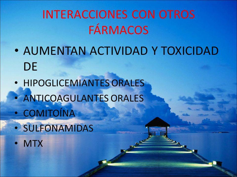 INTERACCIONES CON OTROS FÁRMACOS AUMENTAN ACTIVIDAD Y TOXICIDAD DE HIPOGLICEMIANTES ORALES ANTICOAGULANTES ORALES COMITOÍNA SULFONAMIDAS MTX