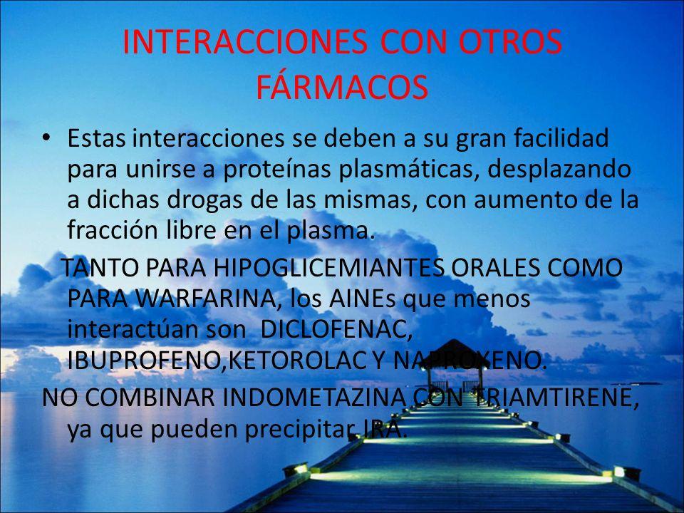 INTERACCIONES CON OTROS FÁRMACOS Estas interacciones se deben a su gran facilidad para unirse a proteínas plasmáticas, desplazando a dichas drogas de
