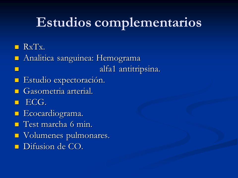Estudios complementarios RxTx. RxTx. Analitica sanguinea: Hemograma Analitica sanguinea: Hemograma alfa1 antitripsina. alfa1 antitripsina. Estudio exp