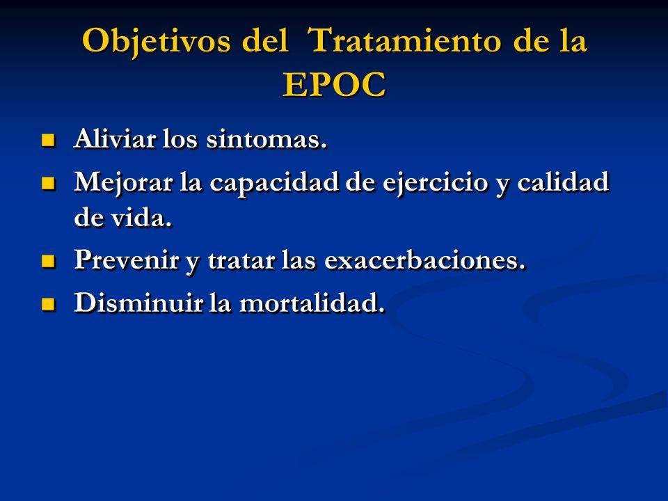 Objetivos del Tratamiento de la EPOC Aliviar los sintomas. Aliviar los sintomas. Mejorar la capacidad de ejercicio y calidad de vida. Mejorar la capac