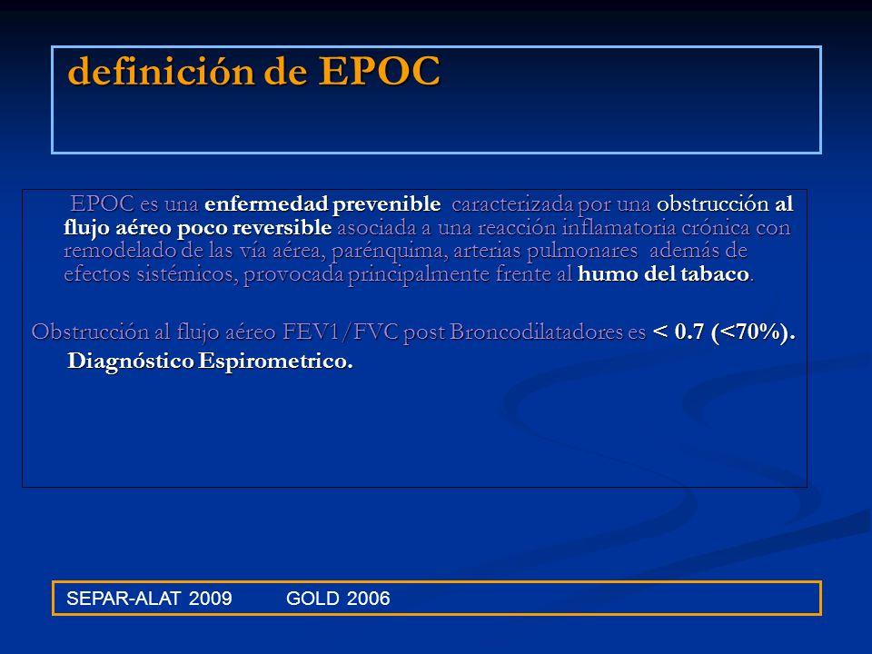 definición de EPOC EPOC es una enfermedad prevenible caracterizada por una obstrucción al flujo aéreo poco reversible asociada a una reacción inflamat