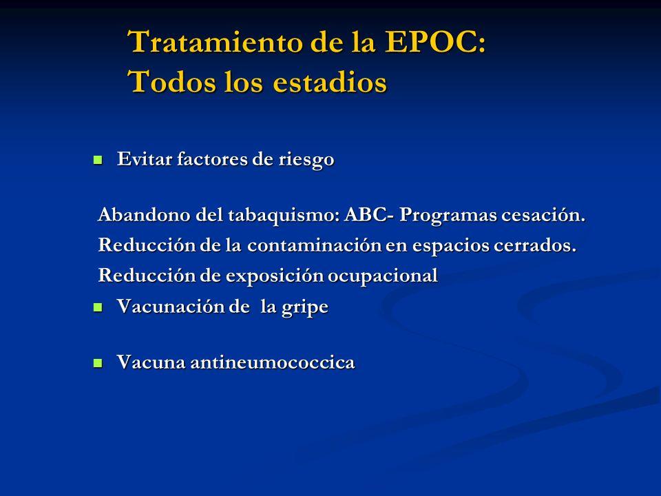 Tratamiento de la EPOC: Todos los estadios Evitar factores de riesgo Evitar factores de riesgo Abandono del tabaquismo: ABC- Programas cesación. Aband