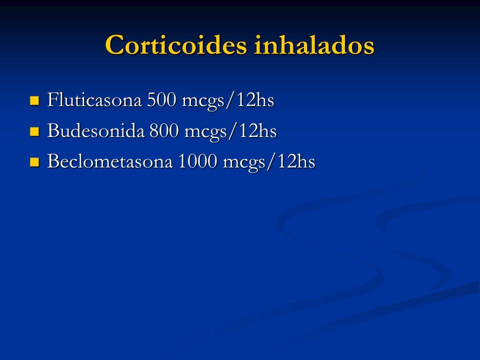 Corticoides inhalados Fluticasona 500 mcgs/12hs Fluticasona 500 mcgs/12hs Budesonida 800 mcgs/12hs Budesonida 800 mcgs/12hs Beclometasona 1000 mcgs/12