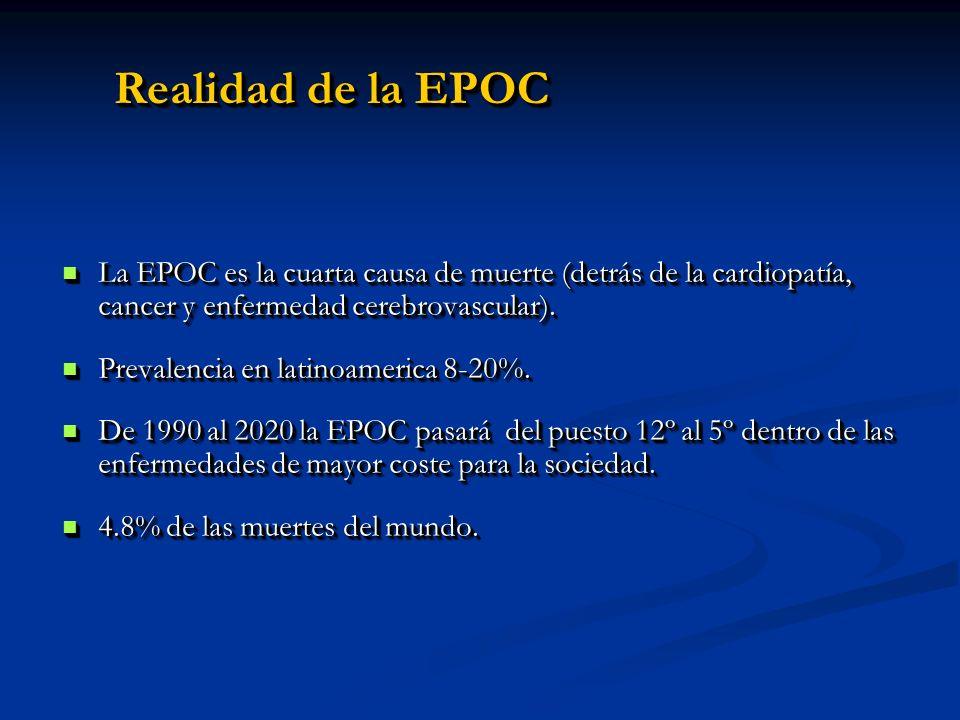Realidad de la EPOC La EPOC es la cuarta causa de muerte (detrás de la cardiopatía, cancer y enfermedad cerebrovascular). La EPOC es la cuarta causa d