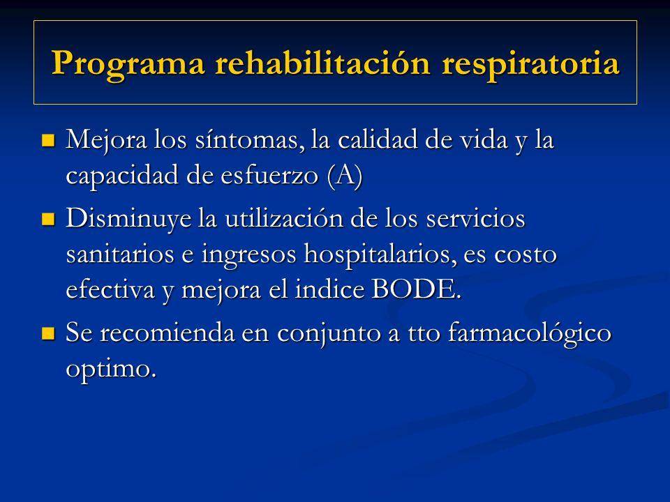 Programa rehabilitación respiratoria Mejora los síntomas, la calidad de vida y la capacidad de esfuerzo (A) Mejora los síntomas, la calidad de vida y