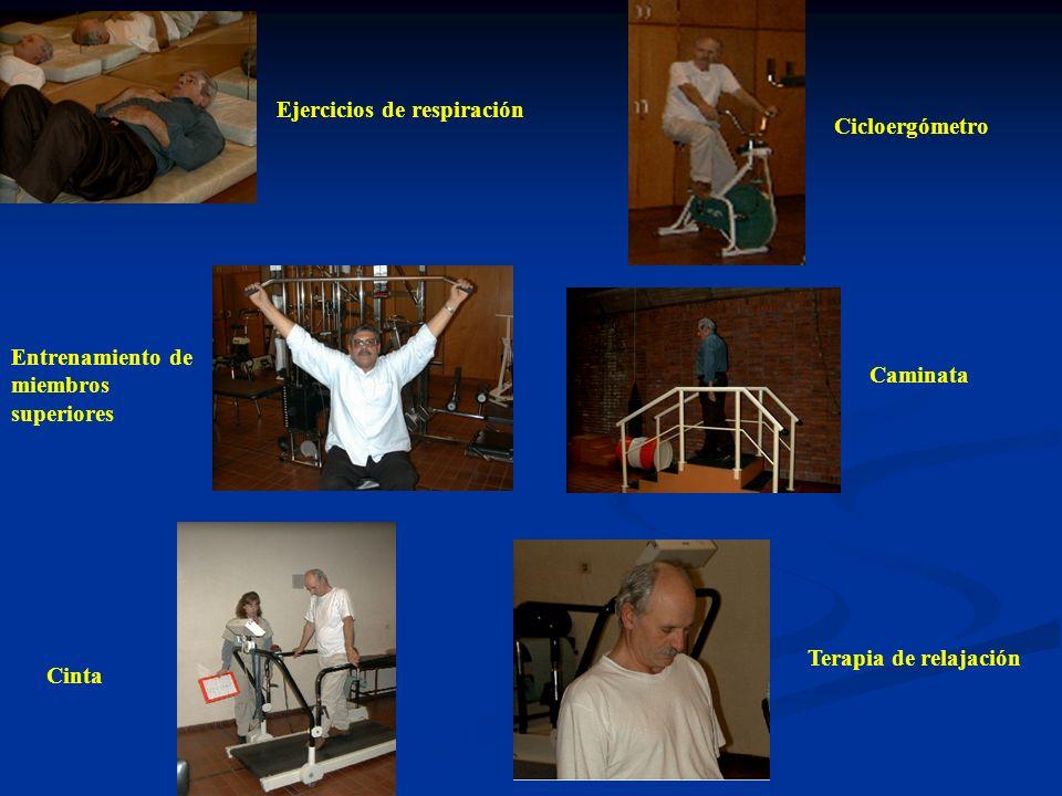 Ejercicios de respiración Entrenamiento de miembros superiores Cicloergómetro Cinta Caminata Terapia de relajación