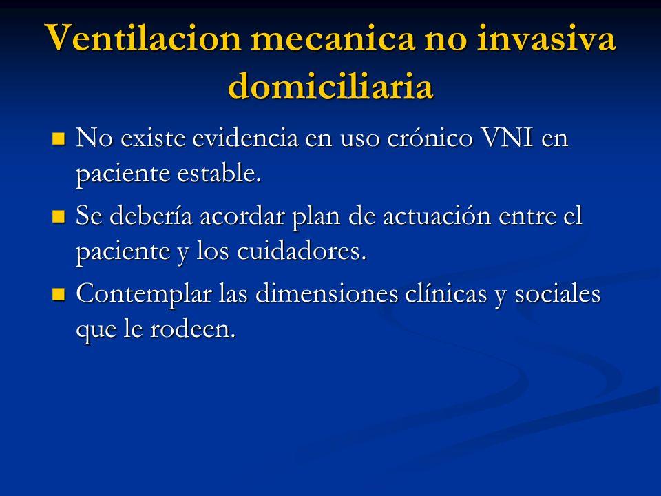 Ventilacion mecanica no invasiva domiciliaria No existe evidencia en uso crónico VNI en paciente estable. No existe evidencia en uso crónico VNI en pa